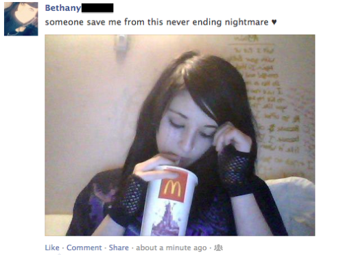 temdelenge:  IS THIS A JOKE SHE'S HOLDING A FUCKING MCDONALDS BEVERAGE