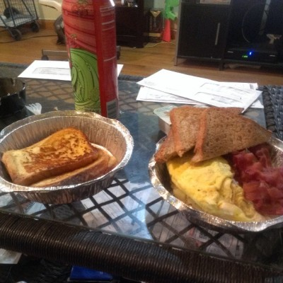 #breakfast #frenchtoast #eggs #bacon #homefries #toast #wholewheat #eatgood #nomnom #brekky