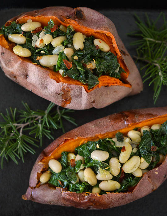 stuffed sweet potatoes with beans and greens