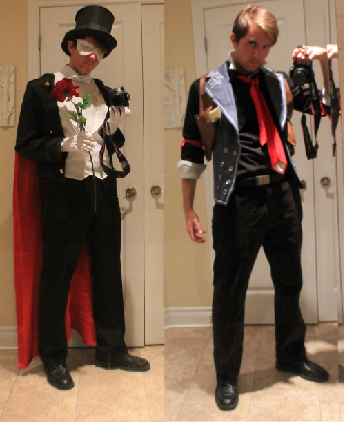 believeintheartofthecards:  ennver:  Tuxedo Mask and Booker Dewitt will be my two majors at Anime North. That fucking top hat still looks retarded to me, and I'm starting to regret making the mask opaque but OH WELL I DON'T NEED VISION RIGHT  LESSE THE BOTTLE