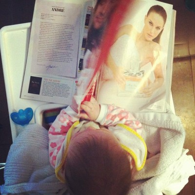 Helena is reading her first fashion magazine. (It's @FlareFashion)