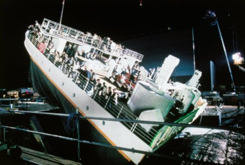 behindtheillusions:  On the set of Titanic (1997), directed by James Cameron.