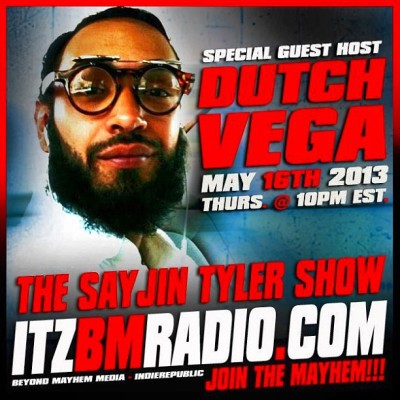I'm gonna be on The Sayjin Tyler Show on www.itzbmradio.com tonight @ 10pm est. time as a Co-Host! Tune in and show some support and have some laughs with me! Pass the word around and tell a friend to tell a friend to tune in!!!