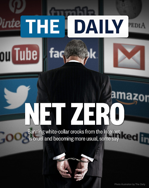 "More and more white-collar criminals are being banned from the Internet, even if their crimes didn't occur online. And some critics say the punishment outweighs the crime.   While sex offenders have long had their web-browsing rights heavily restricted, now everyone from teenage hackers and wayward tech CEOs to people engaged in mail fraud have been given this new-fangled punishment, which means they cannot access a job forum — let alone check Facebook — without first asking a parole officer. ""What you're doing is telling somebody, 'I'm going to lock you into 1964, but you live in 2012,'"" said Mark Schamel, a criminal defense attorney in Washington, D.C. ""All you're doing is forcing people to violate probation to live their lives in the 21st century."" Legal experts and First Amendment advocates say that in today's Internet-centric age — when people file taxes, get directions and keep in touch online — the punishment outweighs the crime. Worse, they say, such restrictions make it more difficult to reintegrate into society. ""What judges are doing here on the Internet is like saying to a shoplifter, 'Not only can you not go into that store, you also can't go on the road, the highway, or even back out of your driveway,'"" said Jeff Ifrah, an attorney who specializes in white-collar crime. ""It's really draconian and overbroad."""