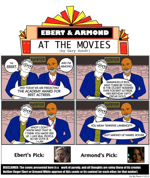 OSCARS 2013 — BEST ACTRESS: Predicted by Ebert & ArmondRoger Ebert & Armond White predict this year's winner for Best Actress. Ebert's Prediction:…View Post