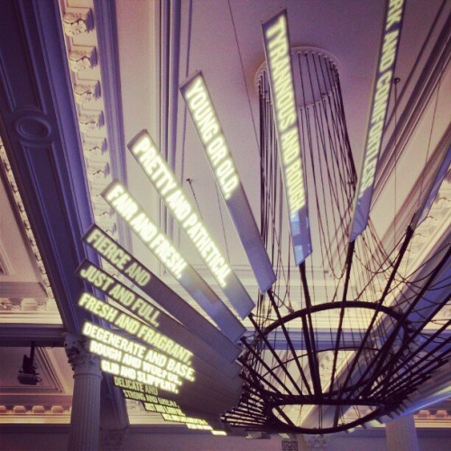 "Shakespeare Machine: an LED chandelier which acts as ""a kind of supercollider where the particles to be accelerated and smashed together are scenes, lines, and phrases."" - Ben Rubin (at The Public Theater)"
