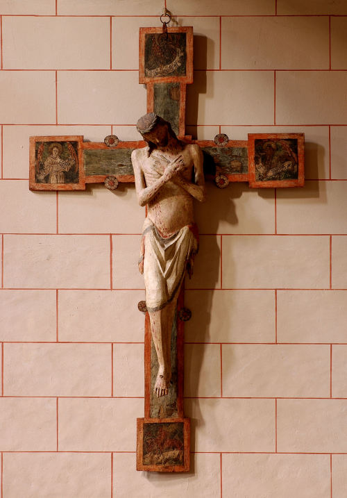"A rather striking crucifix from Kloster Marienburg, a former Catholic monastery, in Helmstedt, Lower Saxony, Germany. Following the Reformation, it passed on the Lutheran hands. From what I gather, this piece, dated to around 1350, is what is called in German as ""Schmerzensmannkreuz""— an iconographic type midway between the traditional Man of Sorrows and the Crucifix."