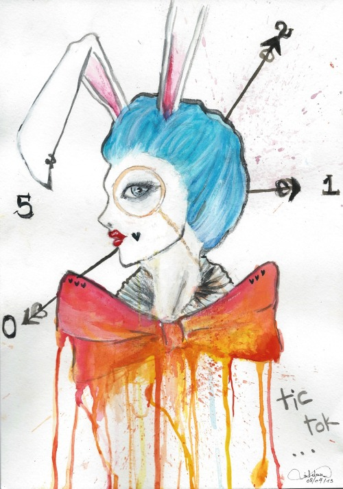 """I'm late, I'm late.. for a very important date!""  Follow the White Rabbit :3 It will lead you to wonderland…  - -  by incognitu5.tumblr.com (just quick sketch to try out the new colors)"