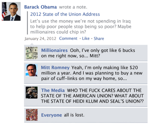 The Facebook News Feed History of 2012 [Click for more] Boy, it'll be hard to say goodbye to this year. Without smiling too hard.