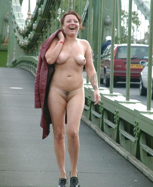 Nude mature women flashing in public