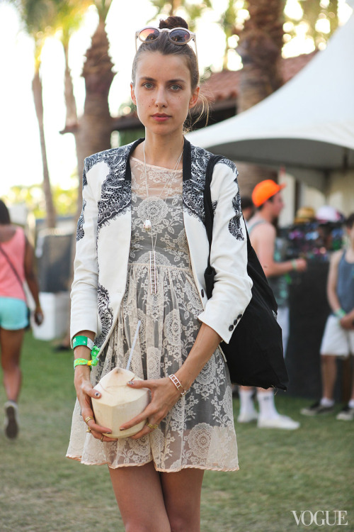 STREET STYLE. COACHELLA.  Model, Vera Balyura wearing our SS13 Sea Horse Blazer.  Available at Bergdorf Goodman. Call 212.753.7300