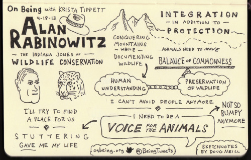 beingblog:  Sketchnotes of On Being interview with wildlife conservationist Alan Rabinowitz.