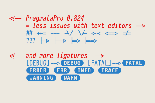 PragmataPro 0.824 more ligatures and compatibility
