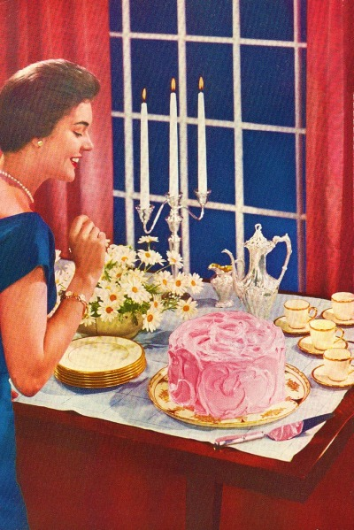 theniftyfifties:  It's cake and coffee time, 1950s style