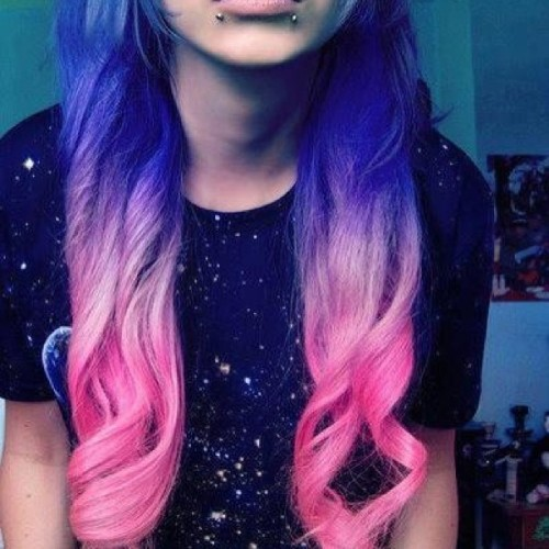 #cute #ombre #space #hair #pink #violet #blue #shirt #outfit #hair #wand #curls #dyed #piercings #pretty #outerspace #love #follow #followme #trend