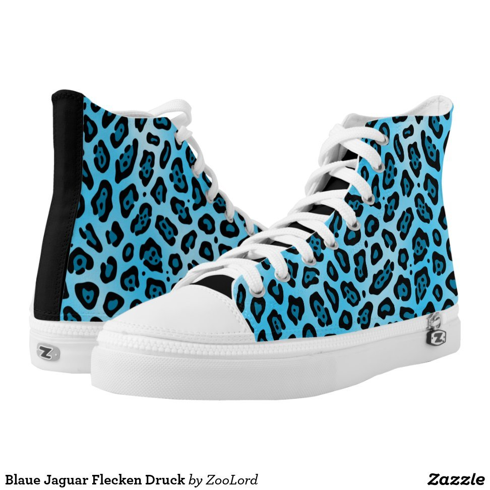 Blaue Jaguar Flecken Druck High-Top Sneakers - Unique Canvas Shoes With Interchangeable Tops  External image  Buy This Design Here: Blaue Jaguar Flecken Druck High-Top Sneakers Created by Fashion Designer: ZooLord Look sporty, stylish and elegant in a pair of unique custom sneakers! Each pair of custom Low Top ZIPZ Shoes is designed so you can fit your style to any wardrobe, mood, party or occasion. Fashionable sneakers for kids and adults, ZIPZ shoes give you a unique and personalized way to express yourself!Blaue Jaguar Flecken Druck High-Top Sneakers Product Information - Unisex sizing: 4-13 Men's | 6-15 Women's - Material and fabric: Durable canvas tops, rubber soles - Buy multiple pairs! ZIPZ shoes are interchangeable, the top cover can be zipped on and off so you can easily switch up your style on the go - Rubber soles are manufactured with extra cushioned insoles and a specially designed arch support system to give your feet a comfortable and healthy fit - Quality you can trust: ZIPZ has been independently tested by SATRA for wear, use, and durability - Additional cost for designing on the tongue of the shoe - Blaue Jaguar Flecken Druck High-Top Sneakers are printed in Santa Fe Springs, CA #sneakers#shoes#footwear#style#fashion#sports#fashionista#OOTD#streetwear#fashionblogger