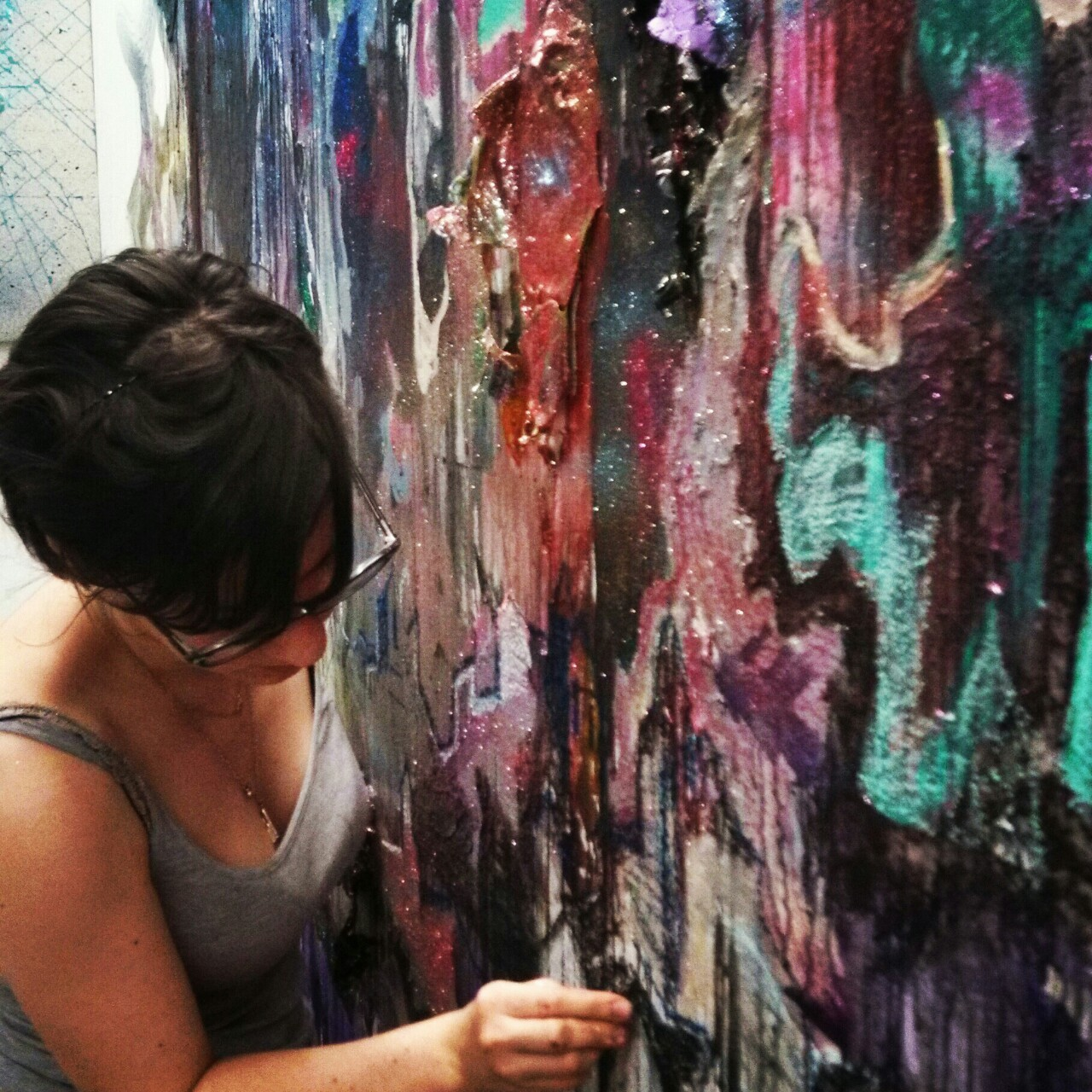 That's me working on a collaboration wall painting with all of my studio mates + my boyfriend.