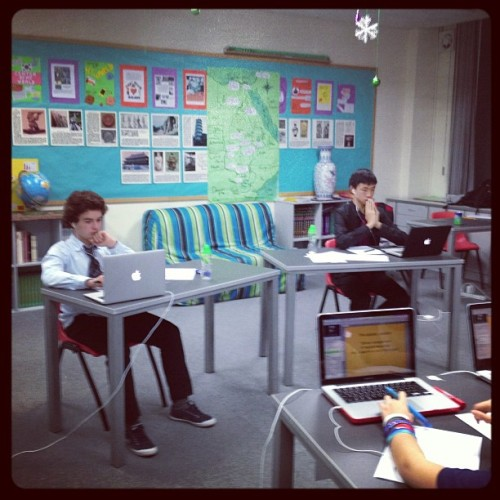 (via Photo by meaganpavey • Instagram) Students in China and the US debated on Wednesday in the finals of the Eracism project for Bracket B. the students in China stayed until 9:30 pm and the students in the US came in at 7;30 am. The teacher in China documented the journey on Instagram. Here are two of the students debating from China. How cool is that?