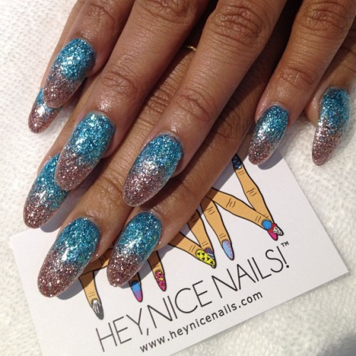 Mermaid #glitter bomb #gel  (at Hey, Nice Nails!)
