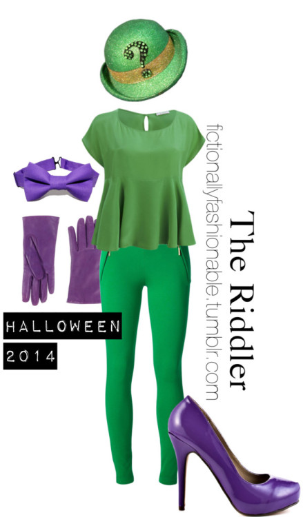 The Riddler - Halloween Outfit by fictionallyfashionable featuring stretch pants  Hey guys I'm back with another Halloween outfit - The Riddler! I think going as The Riddler can be an extremely cheap and easy option if you are willing to do a bit of DIY.What I thought of was finding a green top or shirt at a thrift store, cutting out a good question mark stencil and then just using fabric pens, drawing black question marks all over the shirt. If you do that, you wouldn't even necessarily need green leggings or pants, you could go for black / purple or do a green skirt. Add some purple accessories, maybe a green hat if you can find it and then to top off the look either find a purple eye mask or just create one with make-up!I definitely think this look can be very affordable and you can decide how far you go with it. Happy Halloween!