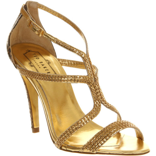 Ted Baker Tilbey high heel sandal snake metallic   ❤ liked on Polyvore (see more high heel shoes)