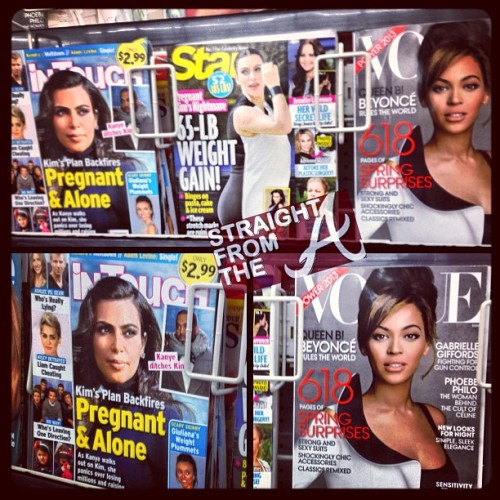 Kim may have more cover shots but #QueenB clearly win this battle… 😂😂😂 #straightfromthea #beyonce #kimkardashian
