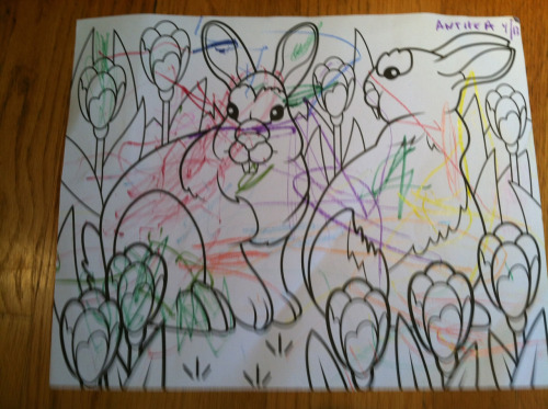Anthea's first coloring project. Previous attempts ended in crayon eating. But this is quite the masterpiece!