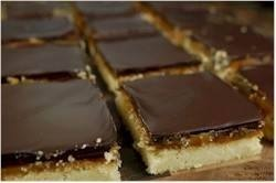Millionaire shortbread  Oh my shattered nerves?!! You have nooo idea how good these things are. They are divine!!!!! Personally I loove shortbread and chocolate( I mean who doesn't) and then add caramel too!!! It's just perfect!! There's a recipe here: http://m.joyofbaking.com/barsandsquares/MillionairesShortbreadBars.html I'm haven't tried it so not sure if its any good but I'm sure it is