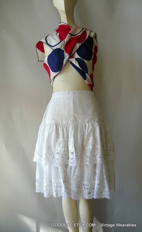 80s Embroidered Lace Prairie skirt..high waist, sheer, small  @ www.GoodEye.Etsy.com