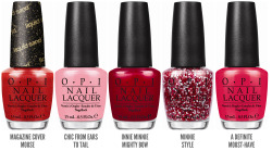 yelyahwilliams:  chalkboardnails:  OPI Announces Couture de Minnie Collection OPI announces the launch of its Couture de Minnie collection, including four limited edition nail lacquers and one new Liquid Sand shade. Created in honor of Disney's beloved character, the Couture de Minnie line explores the fashion-forward side of Minnie Mouse, mixing pink, fuschia and red shades with textural elements.   !!!!