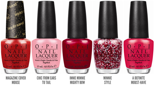 chalkboardnails:  OPI Announces Couture de Minnie Collection OPI announces the launch of its Couture de Minnie collection, including four limited edition nail lacquers and one new Liquid Sand shade. Created in honor of Disney's beloved character, the Couture de Minnie line explores the fashion-forward side of Minnie Mouse, mixing pink, fuschia and red shades with textural elements.