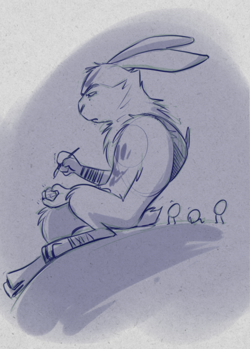 rise-of-bunnymund:  imabunnytho:  [Bunny is sad because his shitty mun never updates his blog]