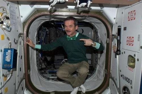 Astronaut celebrates St. Patrick's Day in space (Photo: Canadian Space Agency/Chris Hadfield) You don't need gravity to have a great St. Patrick's Day, just ask astronaut Chris Hadfield on the International Space Station. Hadfield, a Canadian Space Agency astronaut, is celebrating the Irish holiday in orbit by wearing a green shirt and a bright green bow tie Sunday while photographing Ireland from space. Read the complete story.