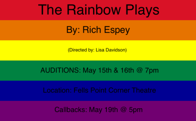 "allboutlisa:  ATTENTION ALL BALTIMORE ACTORS:I am directing ""The Rainbow Plays"" by Rich Espey. Auditions will be May 15th and 16th from 7-9pm. (Show up any time in that two hour window, but please try to be in the building by 8:30pm.) Callbacks will be held May 19th from 5-7pm. I am seeking all actors from 18-50 years of age. Up to 16 parts are available to be cast. Location: Fells Point Corner Theatre-  251 S Ann St Baltimore, MD 21231Auditions will be cold readings from the script. Actors are encouraged to bring headshot/resume, but not required. Hope to see you all there!(""The Rainbow Plays"" are a new piece of LGBT theatre written by Rich Espey. Each short play represents a different color of the LGBT flag and the play follows the struggles of the queer community.)"