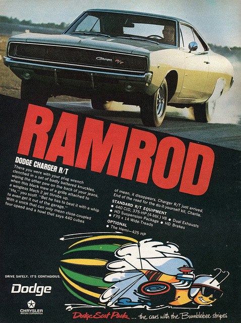 1968 Chrysler Dodge Charger RT Advertisement Hot Rod Magazine May 1968 by SenseiAlan on Flickr.1968 Chrysler Dodge Charger RT Advertisement Hot Rod Magazine May 1968