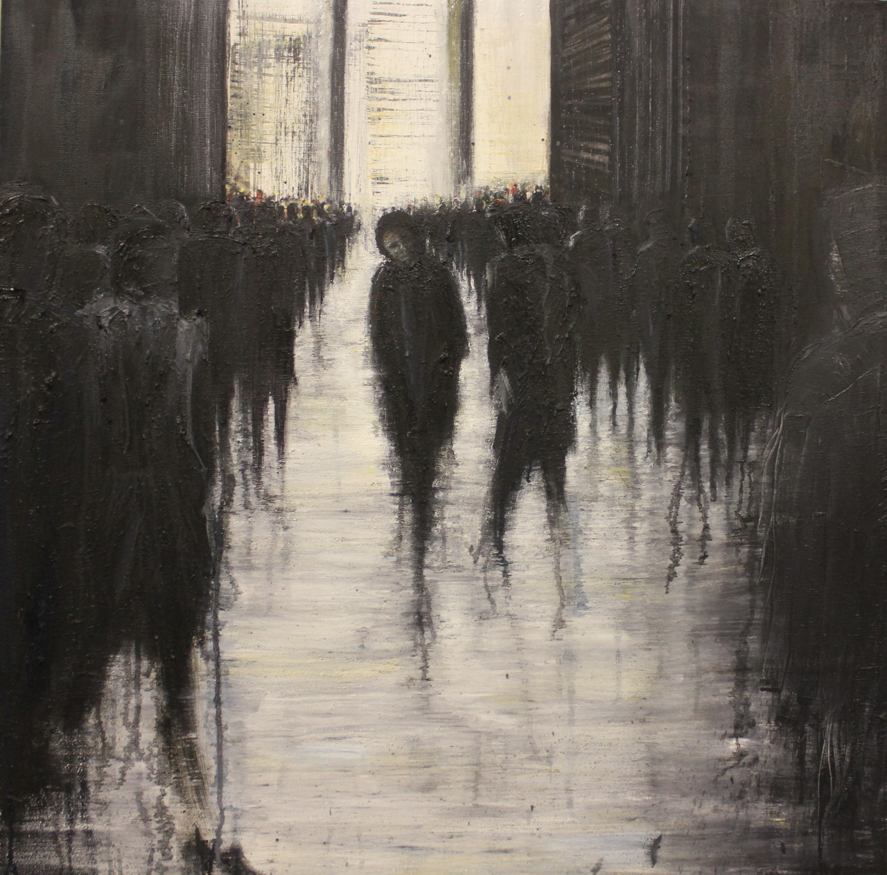 tumblropenarts:  Looking Back, oil on canvas, 90x90cm, 2012 Lesley Oldaker   http://oldaker-art.tumblr.com
