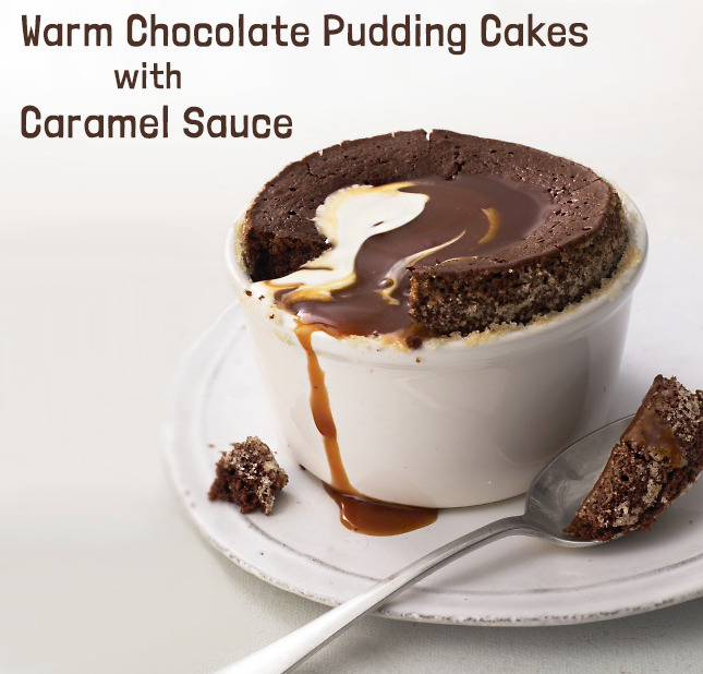 gastrogirl:  warm chocolate pudding cakes with caramel sauce.