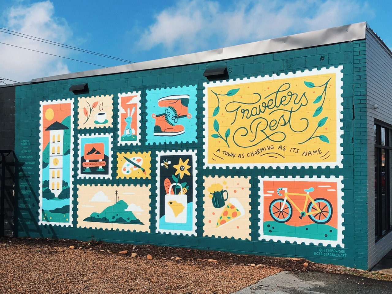 Travelers Rest Mural handmade type south carolina town wall mountain food bike boots illustration mural design lettering postage stamp stamp mural #dribbble#bike#boots#food#handmade#illustration#lettering#mountain#mural#mural design#postage stamp#south carolina#stamp#town#type#wall