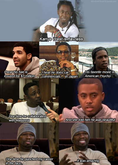 weheartkanye:  How do I even begin to explain Kanye West? - Rappers version   Gotta reblog the ever lovin fuck outta this…