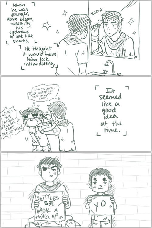 exequalistmako:  sherbeeee:  And this is why Bolin's eyebrows are so hairy now.  YOU ACTUALLY DREW IT.