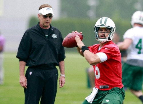 Jets quarterback Mark Sanchez threw three interceptions during the team's OTA on Wednesday. (USATSI)
