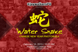 lensandlyrics:  jaywalkersph:   JaywalkersPHpresents WATER SNAKE: CHINESE NEW YEAR PHOTOWALK  Join the Jaywalkers in yet another adventure in the streets of Manila this coming February 10, 2013 as we celebrate the arrival of the year of the Water Snake! Let's all meet at 10:30 AM in Plaza San Lorenzo (in front of Binondo Church). Don't forget to bring your gear, extra shirts, lunch/snack money and some passion to shoot. See you! Signup here: http://bit.ly/WaterSnakeSignup For more inquiries, contact us at jaywalkersph.tumblr.com/ask. Xie xie! Credits: Poster by Ian Calimbahin | Photos by Alexis Lim    See you guys! :)