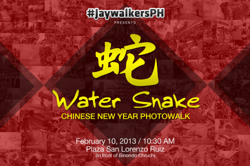jaywalkersph:  JaywalkersPH presents WATER SNAKE: CHINESE NEW YEAR PHOTOWALK  Join the Jaywalkers in yet another adventure in the streets of Manila this coming February 10, 2013 as we celebrate the arrival of the year of the Water Snake! Let's all meet at 10:30 AM in Plaza San Lorenzo (in front of Binondo Church). Don't forget to bring your gear, extra shirts, lunch/snack money and some passion to shoot. See you! Signup here: http://bit.ly/WaterSnakeSignup For more inquiries, contact us at jaywalkersph.tumblr.com/ask. Xie xie! Credits: Poster by Ian Calimbahin | Photos by Alexis Lim
