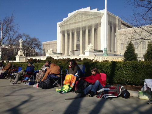 People camped out on line for Tuesday's arguments on #DOMA at #SCOTUS.