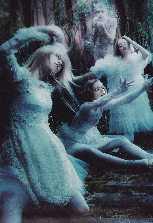 "voguelovesme:  Hanne Gaby Odiele, Peyton Knight, and Meghan Collison in ""Spellbound"" for W Magazine September 2012"