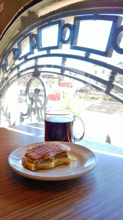 Aeropress coffee and a turkey sausage sandwich at Drip. Headed to the DAM next.