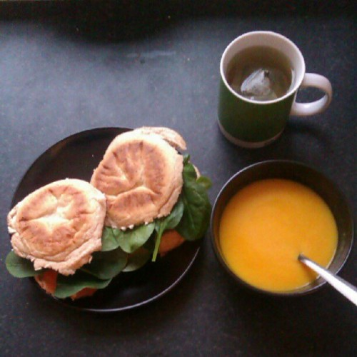 Butternut squash soup, smoked salmon sandwiches and orange and lotus flower green tea, been waiting for this all day!