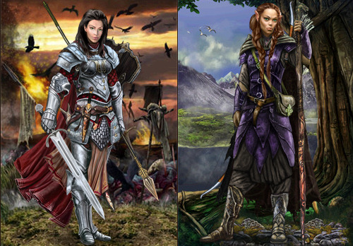 Player avatars of a human warrior and elven archer from Illyriad.