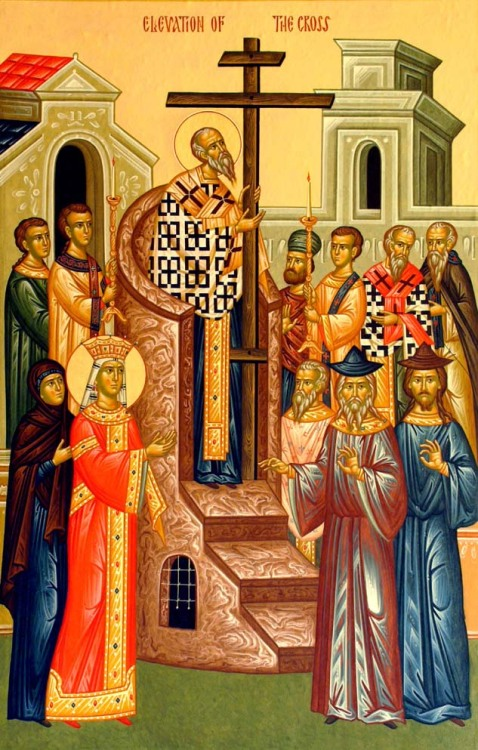 "The Third Sunday of Great Lent: The Sunday of the Veneration of the Holy Cross On the Third Sunday of Great and Holy Lent, the Orthodox Church commemorates the Precious and Life-Giving Cross of our Lord and Savior Jesus Christ. Services include a special veneration of the Cross, which prepares the faithful for the commemoration of the Crucifixion during Holy Week. The Sunday of the Holy Cross is commemorated with the Divine Liturgy of Saint Basil the Great, which is preceded by the Matins service. A Great Vespers is conducted on Saturday evening. The hymns of the Triodion for this day are added to the usual prayers and hymns of the weekly commemoration of the Resurrection of Christ.  Scripture readings for the Sunday of Orthodoxy are: At the Orthros (Matins): The prescribed weekly Gospel reading. At the Divine Liturgy: Hebrews 4:14-5:6; Mark 8:34-9:1. At the conclusion of the Matins (the traditional practice in association with a vigil) or of the Divine Liturgy, a special service is held. The Cross is placed on a tray surrounded by basil or daffodils and is taken in solemn procession through the church to the chanting of the Thrice Holy Hymn. The tray is placed on a table before the people, and the hymn of the Feast of the Cross is chanted. As the priest venerates the Cross, the priest then the people chant, ""We venerate Your Cross, O Christ, and Your holy Resurrection we glorify."" At the conclusion of the service, the people come and venerate the cross and receive the flowers or basil from the priest. Blessed Feast!"