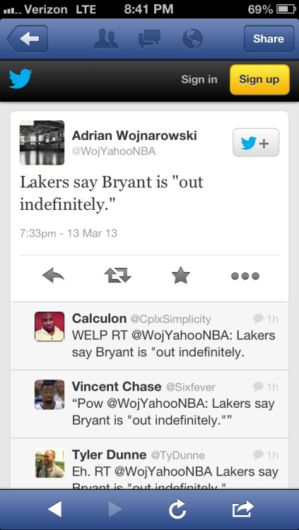 "Horrible news for the Los Angeles Lakers..  Bryant out ""indefinitely"" with a severely sprained ankle.  Can they still make the playoffs without Kobe?"